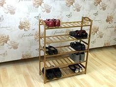 3//4//5-Tier Shoe Racks Storage Organizer Natual Bamboo Household Shelf Stand S B