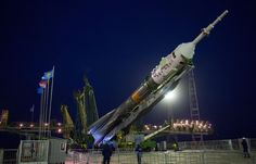 The Soyuz TMA-20M spacecraft is raised into position on the launch pad Wednesday, March 16, 2016 at the Baikonur Cosmodrome in Kazakhstan. Launch of the Soyuz rocket is scheduled for March 19 and will carry Expedition 47 Soyuz Commander Alexey Ovchinin of Roscosmos, Flight Engineer Jeff Williams of NASA, and Flight Engineer Oleg Skripochka of Roscosmos into orbit to begin their five and a half month mission on the International Space Station. Photo Credit: (NASA/Aubrey Gemignani)