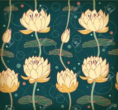 Lotus Background Floral Pattern With Water Lilies Seamless. Royalty Free Cliparts, Vectors, And Stock Illustration. Lily Wallpaper, Wallpaper Stairs, Bathroom Wallpaper, Wallpaper Ideas, Lilies Drawing, Kerala Mural Painting, Patterns In Nature, Nature Pattern, Floral Patterns