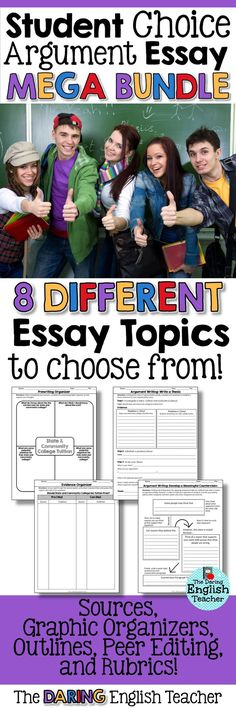 Increase student engagement when writing argument essays by giving them the power of choice! Middle school and high school English argument essay unit.