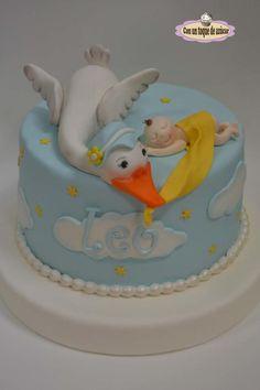 Baby shower cake, tarta bautizo cigüeña - Cake by Con un toque de azúcar - Georgi