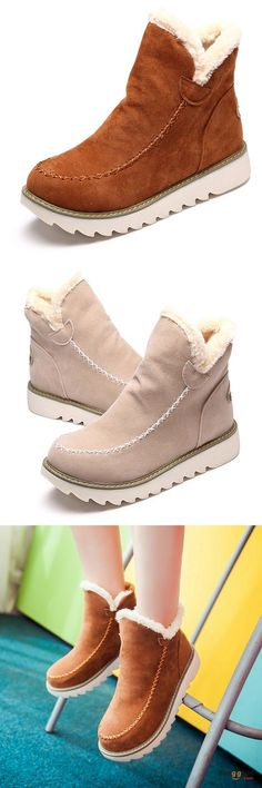 US$38.89 + Free shipping. Size: 5-12. Color: Black, Brown, Beige. Fall in love with casual and warm style! Big Size Pure Color Warm Fur Lining Winter Ankle Snow Boots For Women.