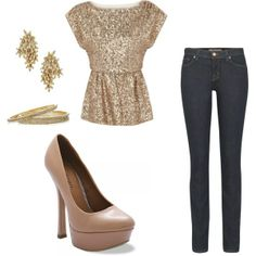 Golden Sparkle outfit, great for casual Christmas party