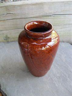Zanesville Pottery Old Pot Shop Norwalk CT Brown High Gloss Vase Leaf Motif #ZanesvillePottery #ArtsCraftsMissionStyle