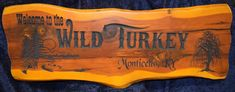 Cedar Sign 4 Foot Wide Welcome to the Wild Turkey Monticello, KY Lake Scene with Cave and WIllow Tree   | Cedar Signs by CedarSlabSigns.com Lake House Signs, Cabin Signs, Cottage Signs, Home Signs, Property Signs, Camper Signs, Turkey Photos, Wild Turkey, Willow Tree