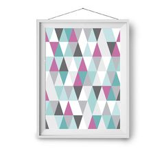 Colorful Art, Geometric Print, Digital Poster, Nursery Art, Kids Room Art, Scandinavian Print, Home Decor, Turquoise and Pink Abstract Art