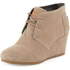 TOMS Suede Lace-Up Wedge Boot, Taupe found on Polyvore