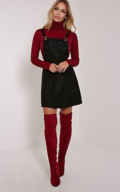 Lumi Black Faux Suede Pinafore Dress Image 1