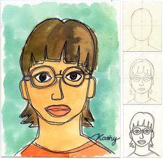 Art Projects for Kids: Self Portrait Line Drawing Plus Watercolor
