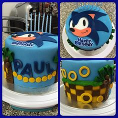 Sonic Hedgehog Themed Cake. Chocolate Cake with Oreo buttercream filling.