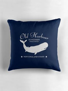 Nautical pillow navy blue with white whale watch badge. Perfect decor for nautical living room and bedroom. #nautical #pillow #cushion #decor #whale #new # england