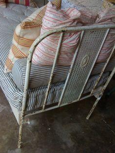 Handmade ticking mattress, Fredericksburg TX.