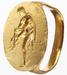 Gold finger ring engraved with an image of Hermes Period: Late Classical Date: late century B. Culture: Greek, South Italian, Tarentine Medium: Gold Dimensions: Overall: x x Antique Rings, Antique Gold, Antique Jewelry, Vintage Jewelry, Roman Jewelry, Greek Jewelry, Gold Finger Rings, Gold Ring, Objets Antiques