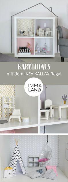 Das Ikea Kallax Regal Lässt Sich Perfekt Als Puppenhaus Oder Barbiehaus Umfunktionieren Bei Uns Bekommt Ihr Passend Für Vier Regalfächer Eine Wandfolie