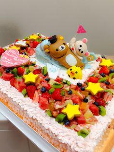 リラックマのケーキ Big Cakes, Rilakkuma, Cream Cake, Bento, Wedding Cakes, Birthday Parties, Kawaii, Manga, Games