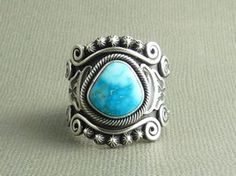 Sterling Silver King Manassa Turquoise Ring Size 11 by Gary Reeves #TurquoiseJewelry from Southwest Silver Gallery http://www.southwestsilvergallery.com/AWSCategories/p/31/Size-11