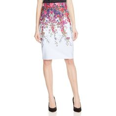 Ted Baker Vaella Flowered Frame Pencil Skirt ($195) ❤ liked on Polyvore featuring skirts, pale blue, ted baker skirt, floral knee length skirt, floral printed skirt, pencil skirt and floral print skirt