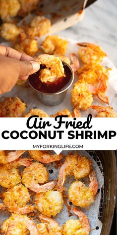 This Air Fried Coconut Shrimp and the perfect appetizer. They are perfectly crispy in the air fryer with very little oil. Seafood Appetizers Seafood Appetizers Appetizers Appetizers for a crowd Appetizers parties Shrimp Recipes Easy, Air Fryer Recipes Easy, Vegan Recipes Easy, Baby Food Recipes, Seafood Recipes, Grill Recipes, Dip Recipes, Yummy Recipes, Free Recipes