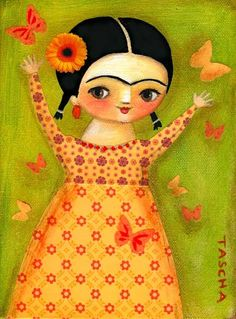 Little Frida in an orange dress, by TASHA...too cute not to pin & add to the collection! *-*