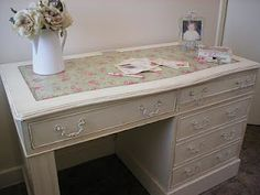 Romantic painted chalk white desk decoupaged with Cath Kidston.    *~Romantic Painted Furniture~*  Based in the UK, Manchester. (Fan page)    https://www.facebook.com/pages/The-Rambling-Rose-Romantic-Furniture-Accessories/140352742678251