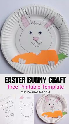 Adorable Easter bunny for preschool and kindergarten kids. Fun idea for talking about the benefits of chewing the food well and eating healthy food. via # Easy Crafts kindergarten Easter Bunny Craft Kids Crafts, Fun Diy Crafts, Bunny Crafts, Arts And Crafts Projects, Toddler Crafts, Preschool Crafts, Projects For Kids, Preschool Teachers, Kindergarten Art