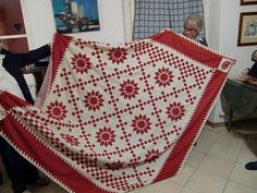 Marie-aux-Mines, Part 1 Red And White Quilts, White Fabrics, Sunflower Quilts, Two Color Quilts, Quilt Border, Miniature Quilts, Quilting Tips, Star Shape, Red White Blue