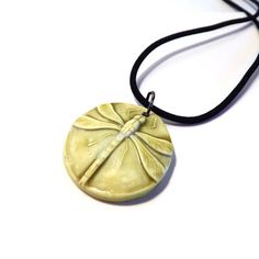 Green Glaze Dragonfly Polymer Clay Pendant with Black Flocked Necklace by vpauld, $16.50