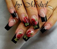 Having short nails is extremely practical. The problem is so many nail art and manicure designs that you'll find online Rose Nails, Flower Nails, Rose Nail Art, Fabulous Nails, Gorgeous Nails, Fancy Nails, Trendy Nails, Bling Nails, Rose Nail Design