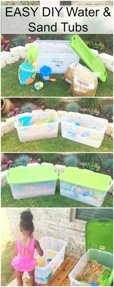 DIY Water and Sand Table – Easy Water and Sand Tubs perfect for winter in the garage! DIY Water and Sand Table – Einfache Wasser- und Sandwannen, perfekt für den Winter in der Garage! Toddler Play, Toddler Learning, Baby Play, Baby Toys, Craft Activities For Kids, Infant Activities, Summer Activities, Outdoor Activities, Baby Kind