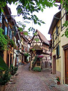 Cobblestone Street, Eguisheim, France