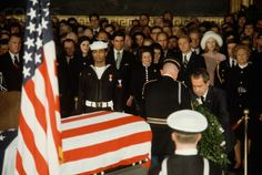 At LBJ's funeral with the Nixons.