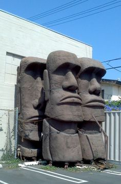 This prop house (no relation to Star Wars: C. P. stands for Cinema Props, and it's the third of their four prop houses) is owned by Omega | Cinema Props. They have four rather massive moai stored outside, strapped to the side of the building. The moai...