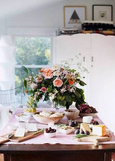 Fresh flowers, filling humble foods, set table, home