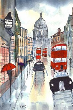 Art: Rainy Day London~Fleet Street Afternoon by Artist KJ Carr