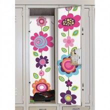 Flower Stripe Locker Skin! http://www.muralsforkids.com/products/Flower-Stripe-Locker-Skin-Wall-Decal.html