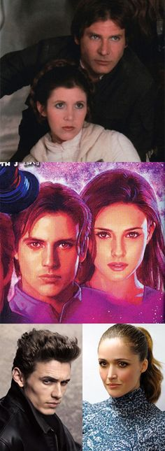 I'm making my predictions for Star Wars Episode 7. James Franco and Rose Byrne as twins Jacen and Jaina Solo.