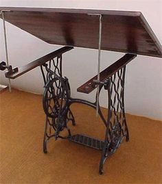Turn a sewing machine base into a drafting table! (ebay link, but it's…