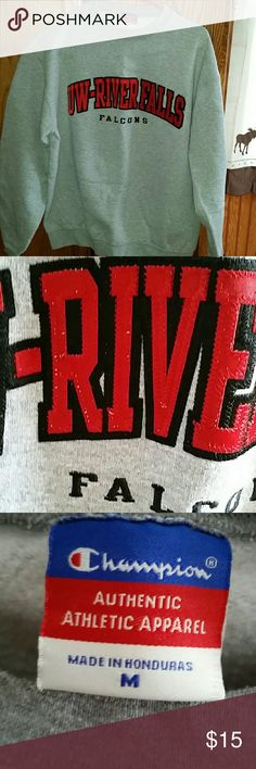 Champion grey sweat shirt UW River Falls Champion grey sweat shirt UW River Falls Falcons. Rearly worn and in great condition. Champion Tops Sweatshirts & Hoodies
