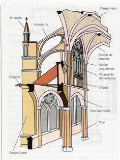 Sección de la catedral Gótica: pilar fasciculado, clariostorio o paramento de ventanas