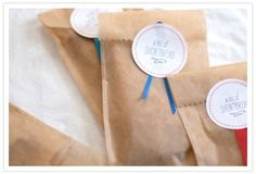 Homemade shortbread favors. The bag is made from stitched-together parchment paper.