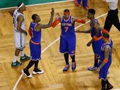 2013 NBA Playoffs Eastern Conference Round 1: New York Knicks (2) vs Boston Celtics (7).   2013 Scoring Champion Carmelo Anthony, along with 6th Man of the Year J.R. Smith, Raymond Felton, Tyson Chandler and Iman Shumpert proved to be too much for the aging Celtics core of Kevin Garnett and Paul Pierce as the New York beats Boston in 6 games. If Rajon Rondo wasn't injured, the series could've easily gone either way.