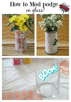 How to mod podge on glass with over 20 cute and simple craft projects you can start doing today. You can recycle jars, mod podge with napkins and Modge Podge Glass, Modge Podge Fabric, Diy Mod Podge, Mod Podge Crafts, Paper Folding Crafts, Recycled Jars, Coffee Filter Crafts, Diy Wine Glasses, Easy Diy Crafts