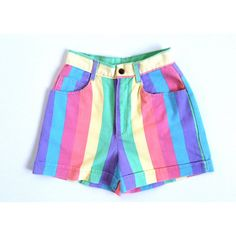 90's rainbow High Waisted Shorts (€30) ❤ liked on Polyvore featuring shorts, bottoms, jean shorts, short jean shorts, high rise denim shorts, rainbow shorts and high waisted denim shorts