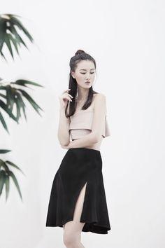 ÁINE Slit Flare Skirt - #black #slit #skirt #flareslit