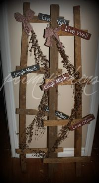 You've just GOT to order one of these! Vintage Ladder, Wooden Ladder, Ladder Decor, Decor Ideas, Craft Ideas, Candy Canes, Flower Planters, Primitive Decor, Ladders