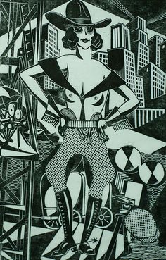 Meisje van de Far West (Young Lady of the Far West) - HENRI VAN STRATEN - linoleum cut