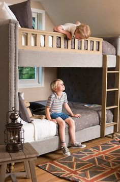 Orrin & Thacher's Modern Rustic Bedroom — Kids Room Tour-- double size bed bunk bed-- sleeps 4.  :)