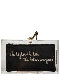 CHARLOTTE OLYMPIA - LOVES SHOES PANDORA PERSPEX CLUTCH - LUISAVIAROMA - LUXURY SHOPPING WORLDWIDE SHIPPING - FLORENCE