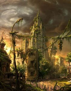 post apocalyptic city concept art image - Ashes of Dystopia Post Apocalypse, Apocalypse World, Fantasy Places, Fantasy World, Fantasy Kunst, Fantasy Art, Post Apocalyptic City, Casa Anime, Ruined City