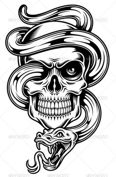 Skull With Snake http://graphicriver.net/item/skull-with-snake/8320428?ref=damiamio fully editable vector illustration (editable EPS) of skull with snake isolated on white background, image suitable for t-shirt design, crest, tattoo or tribal, package contains : JPG image 3600×5000 pixels and EPS vector file Created: 18July14 GraphicsFilesIncluded: JPGImage #VectorEPS Layered: Yes MinimumAdobeCSVersion: CS Tags: blackandwhite #bones #clipart #crest #death #decoration #decorative…